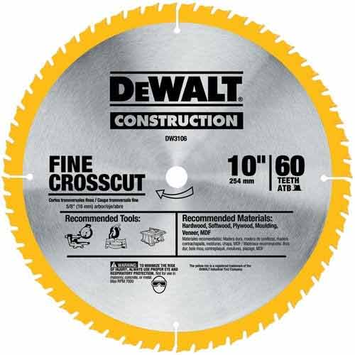 The best saw blades of 2018 top picks for all blade types when you need fine cross cuts for your woodwork projects you need a quality fine finish blade like the 10 inch dewalt dw3106p5d60i this 60 tooth saw blade keyboard keysfo Image collections